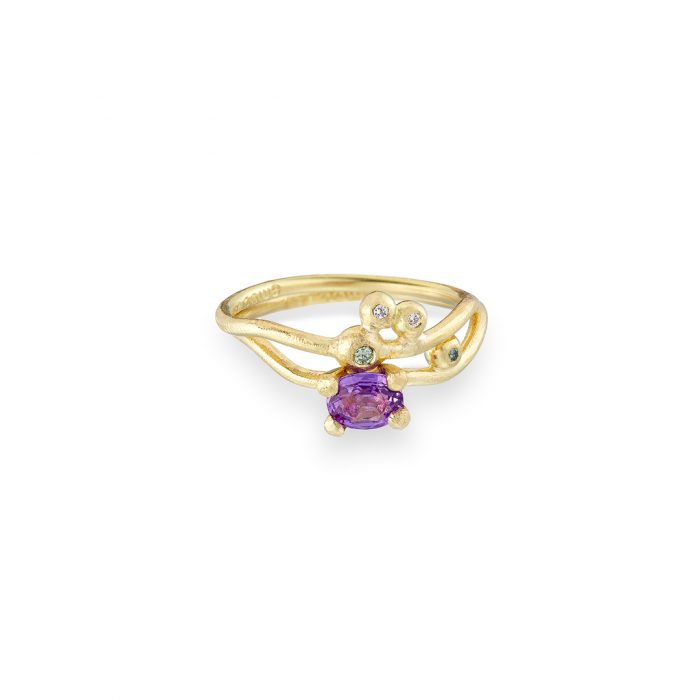 Goddess ring stacked with dewdrop ring