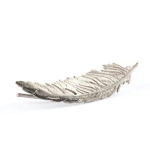 Feather ear cuff, silver