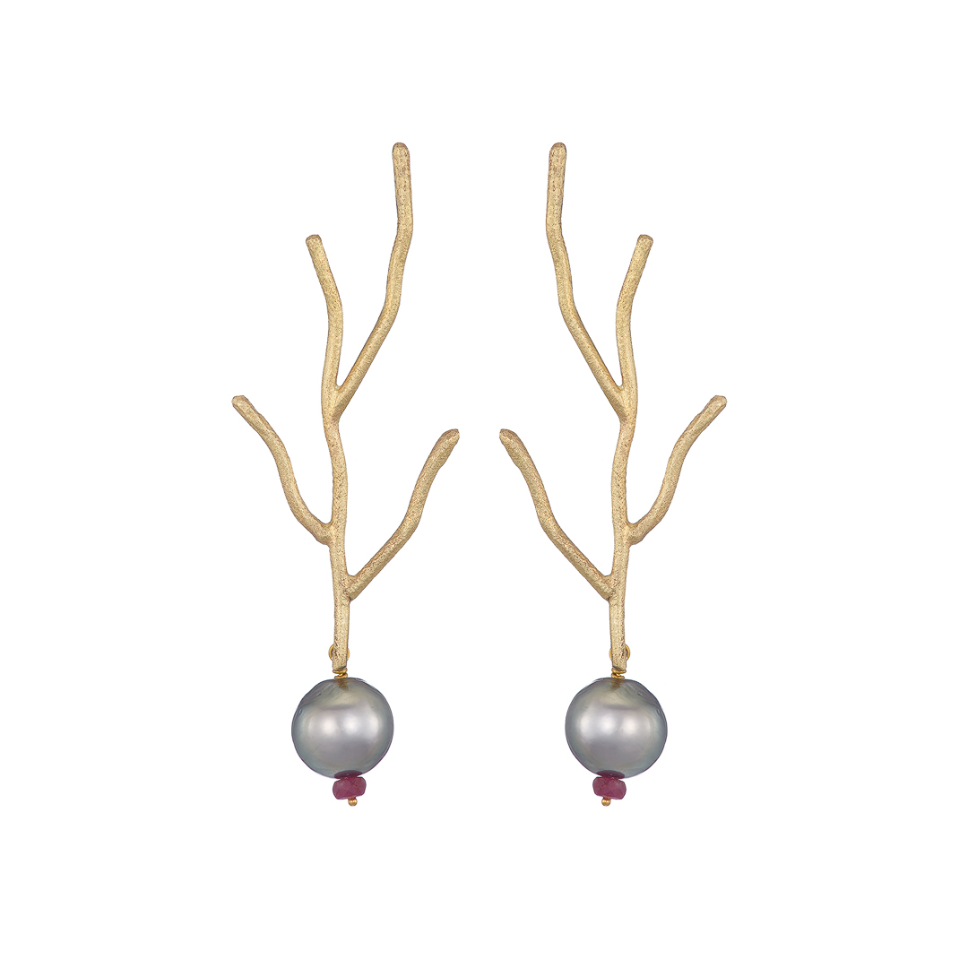 Twig Earrings with pearls and rubies