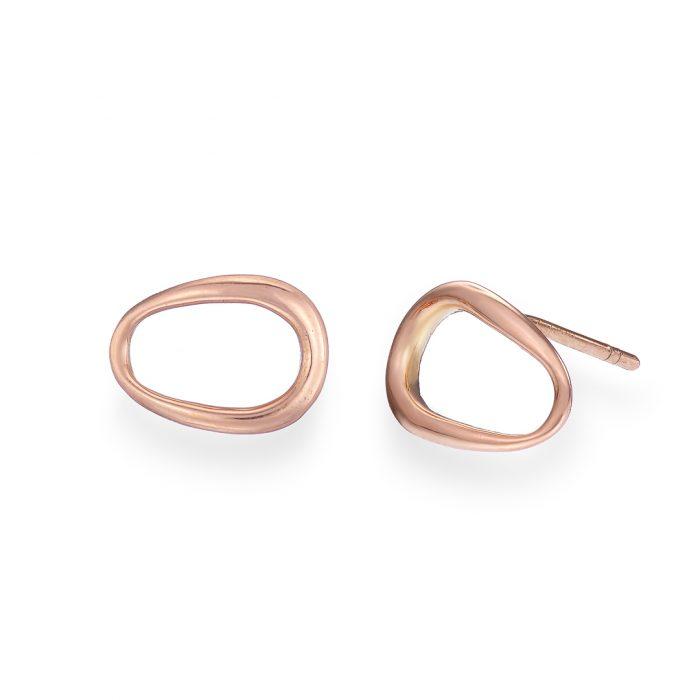 Ellipse Stud Earrings, Rose Gold