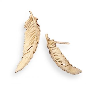 Feather earrings large 9ct yellow gold