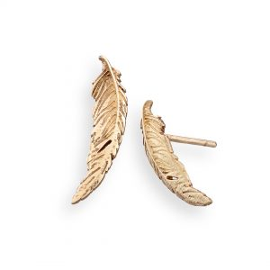 Feather earrings medium 9ct yellow gold