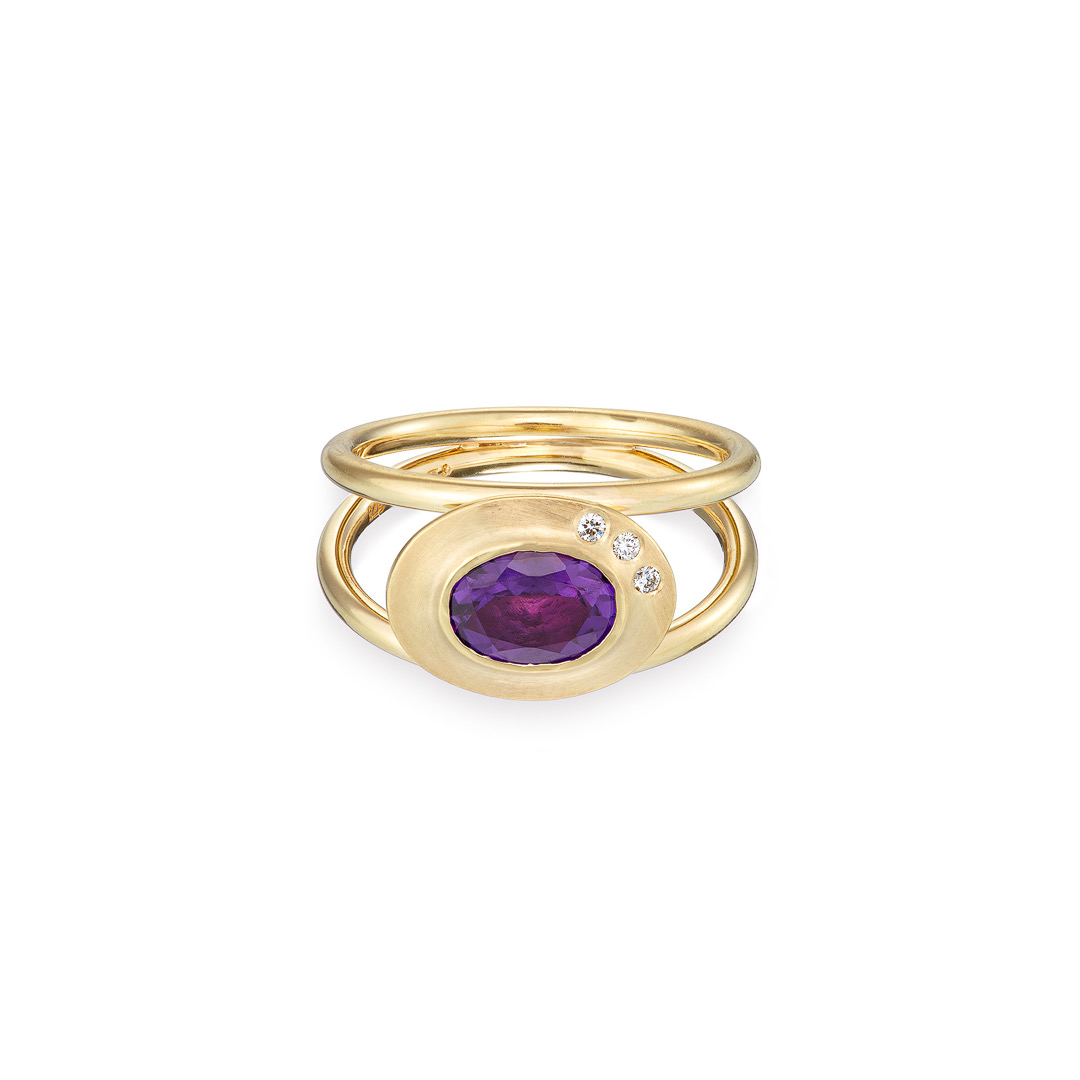 Byzantine ring amethyst diamond and 9ct yellow gold