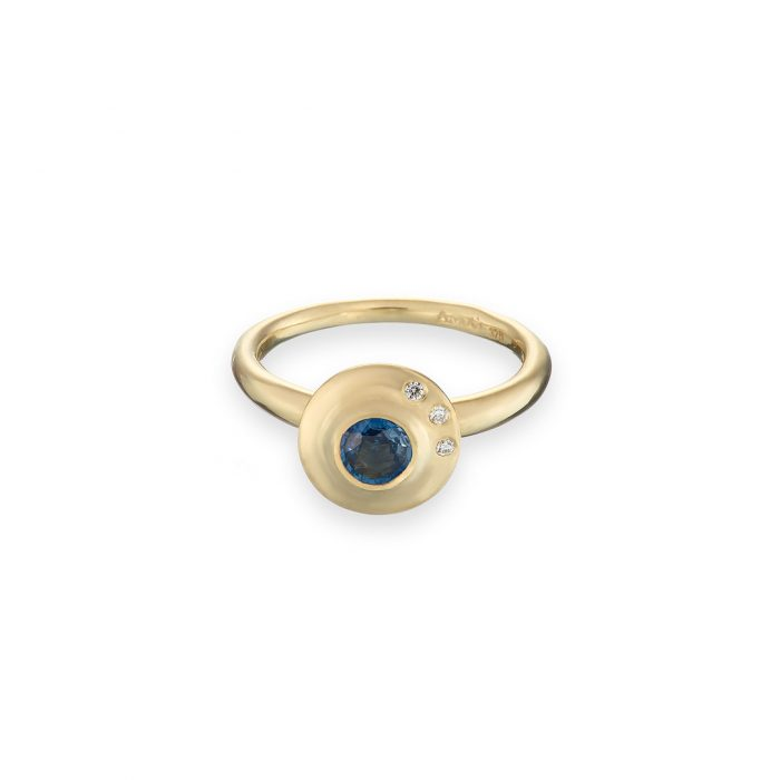 Byzantine ring sapphire diamond 9ct yellow