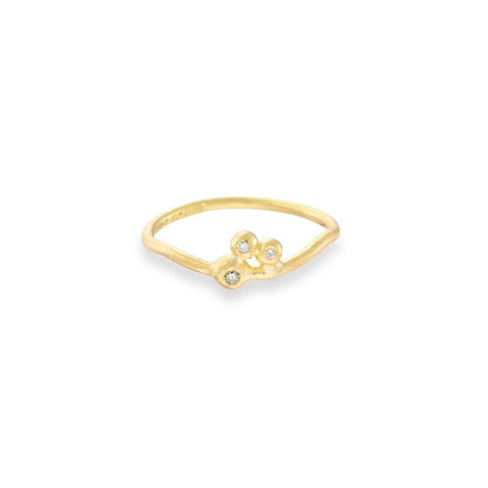 Dewdrop ring green and white diamonds 18ct yellow gold