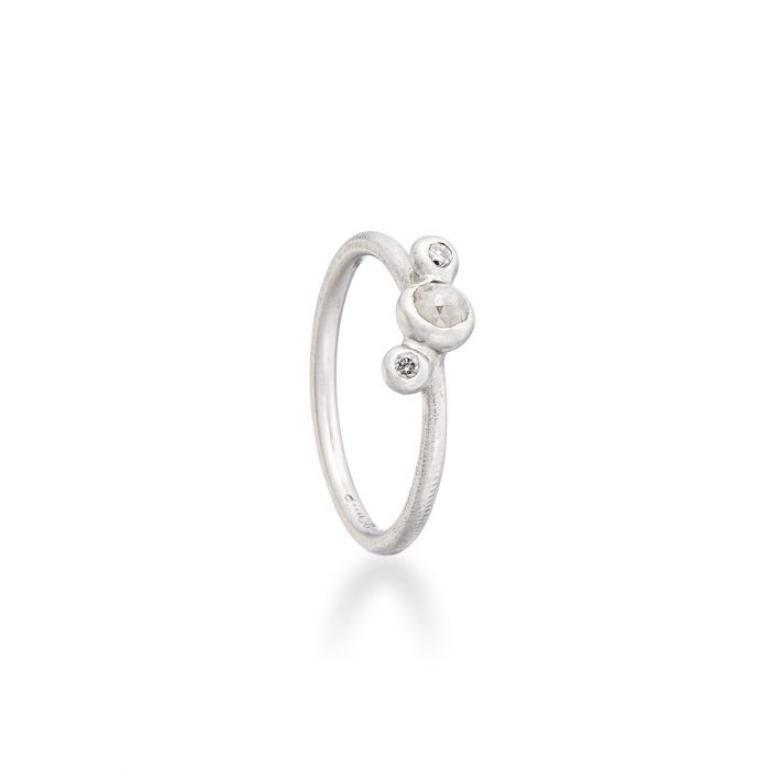 Dewdrop ring grey and white diamonds in 18ct white gold