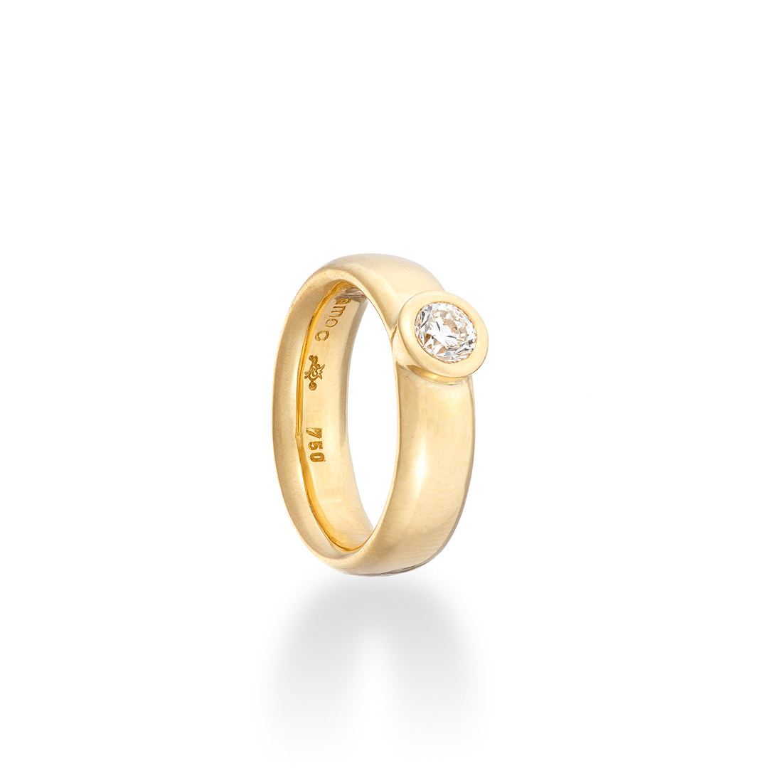 Figaro Ring, diamond 18ct yellow gold