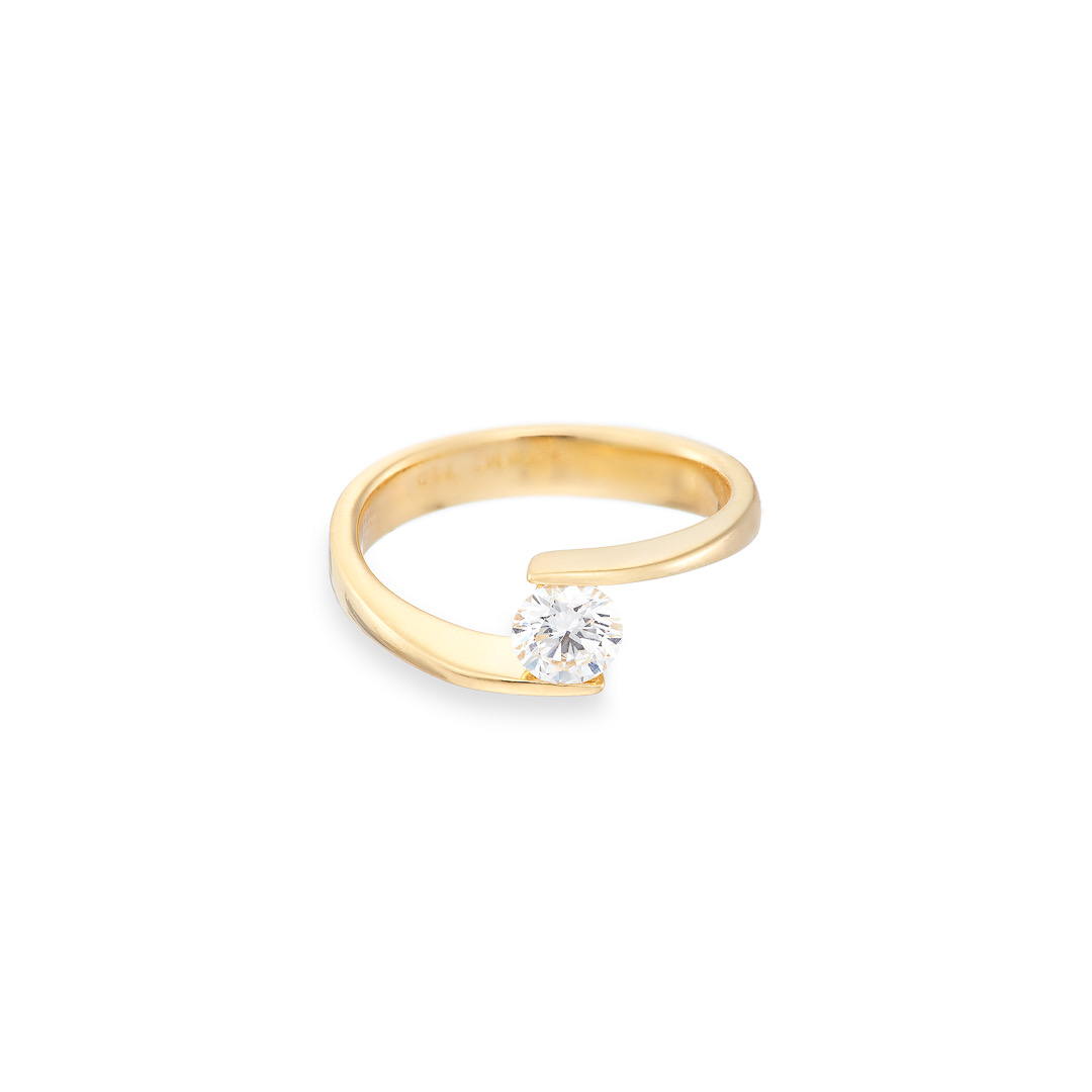 Floating stone ring diamond 18ct yellow gold