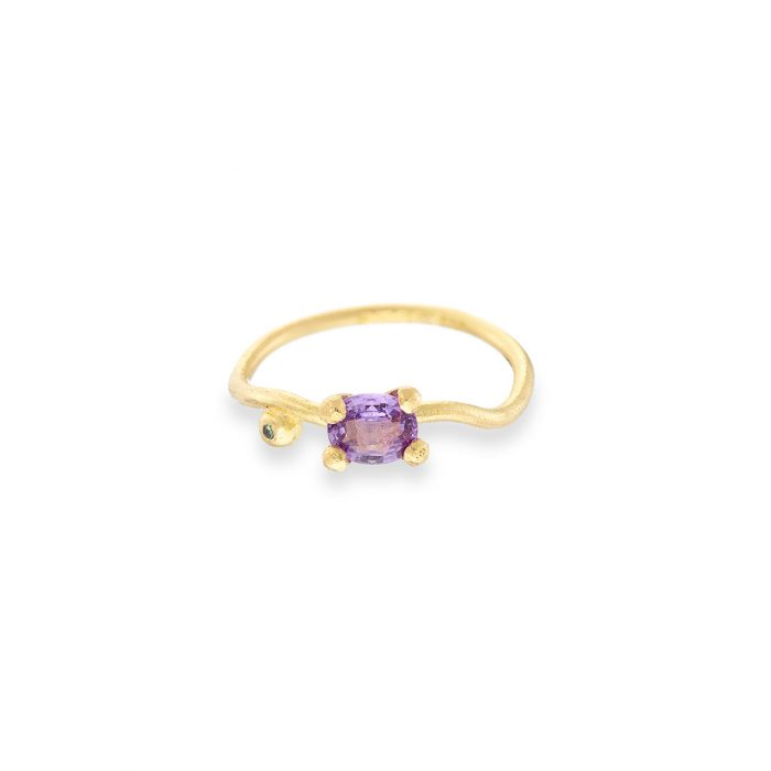 Goddess ring purple sapphire and green diamond 18ct yellow gold