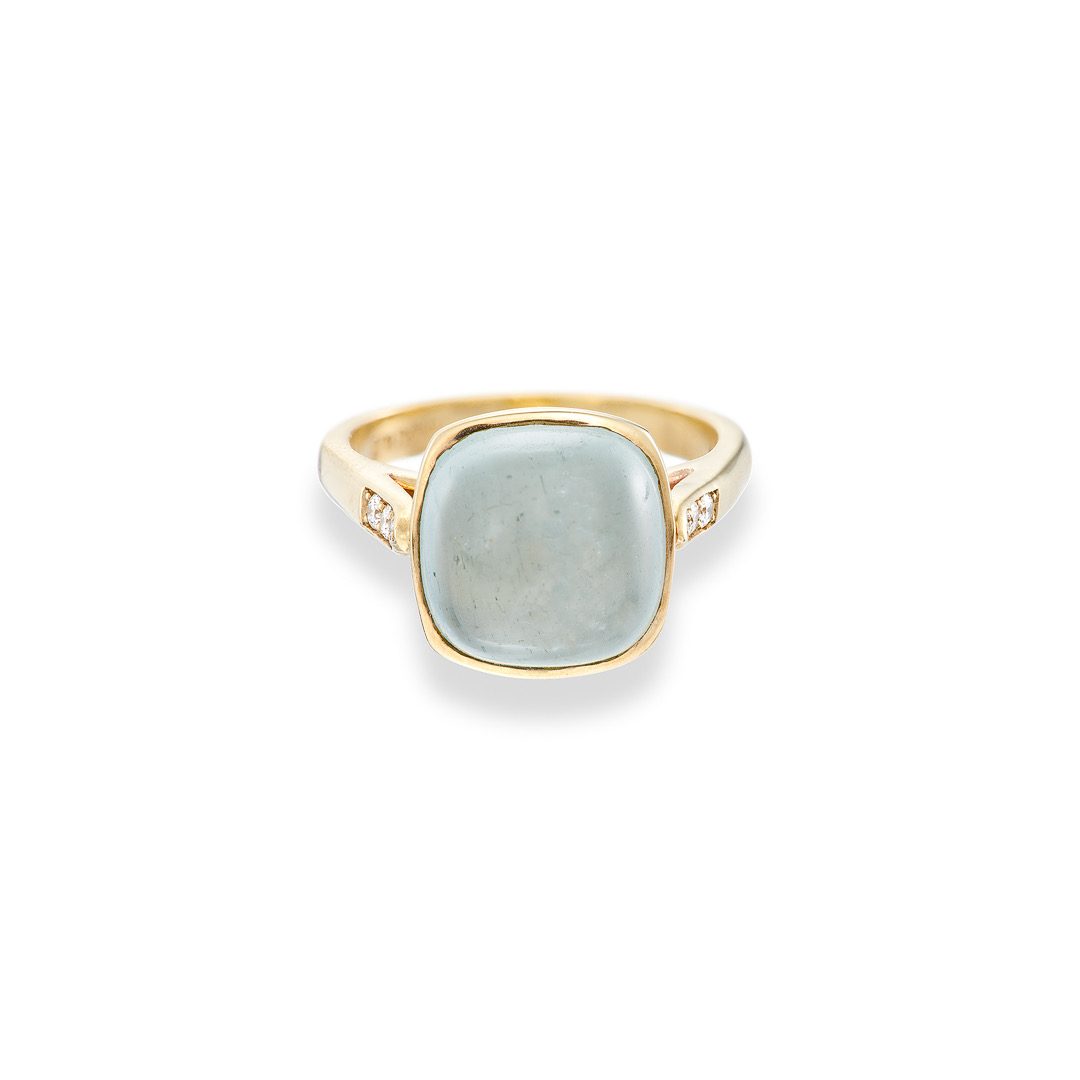 Jellybaby ring, Aquamarine and pave set diamonds 9ct yellow gold