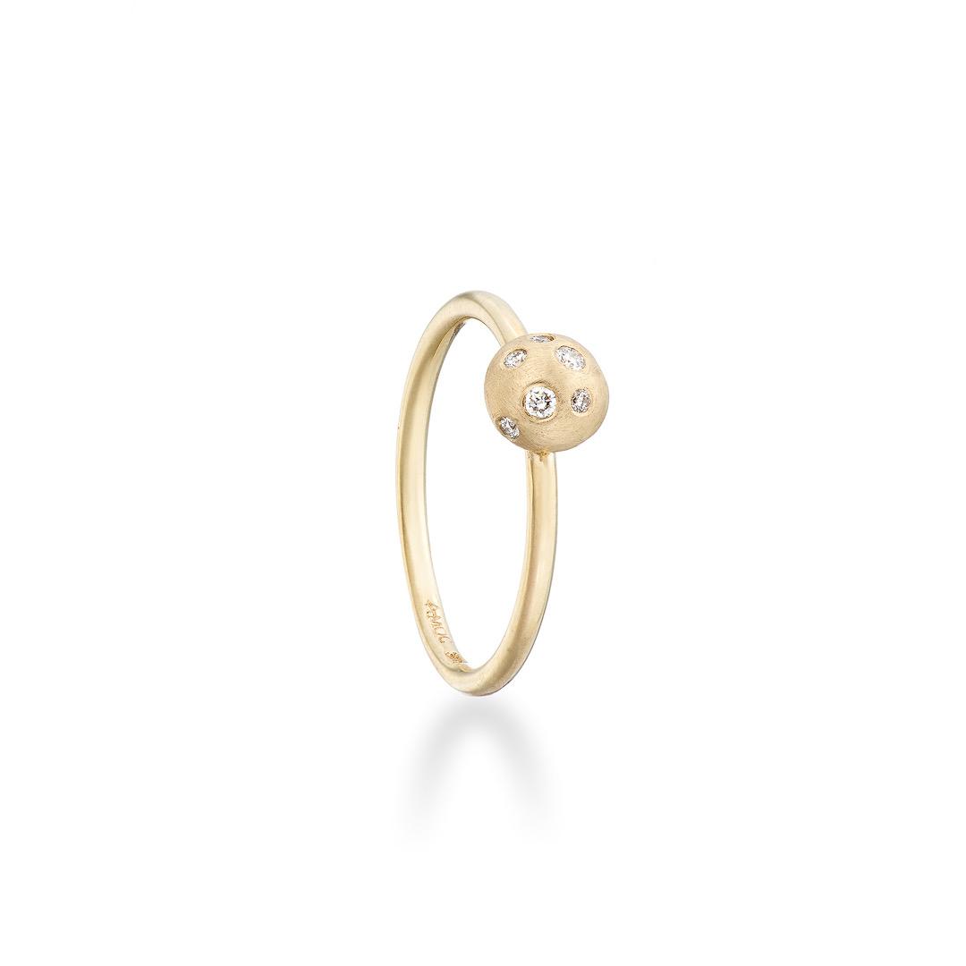 Mushroom ring diamond 9ct yellow gold