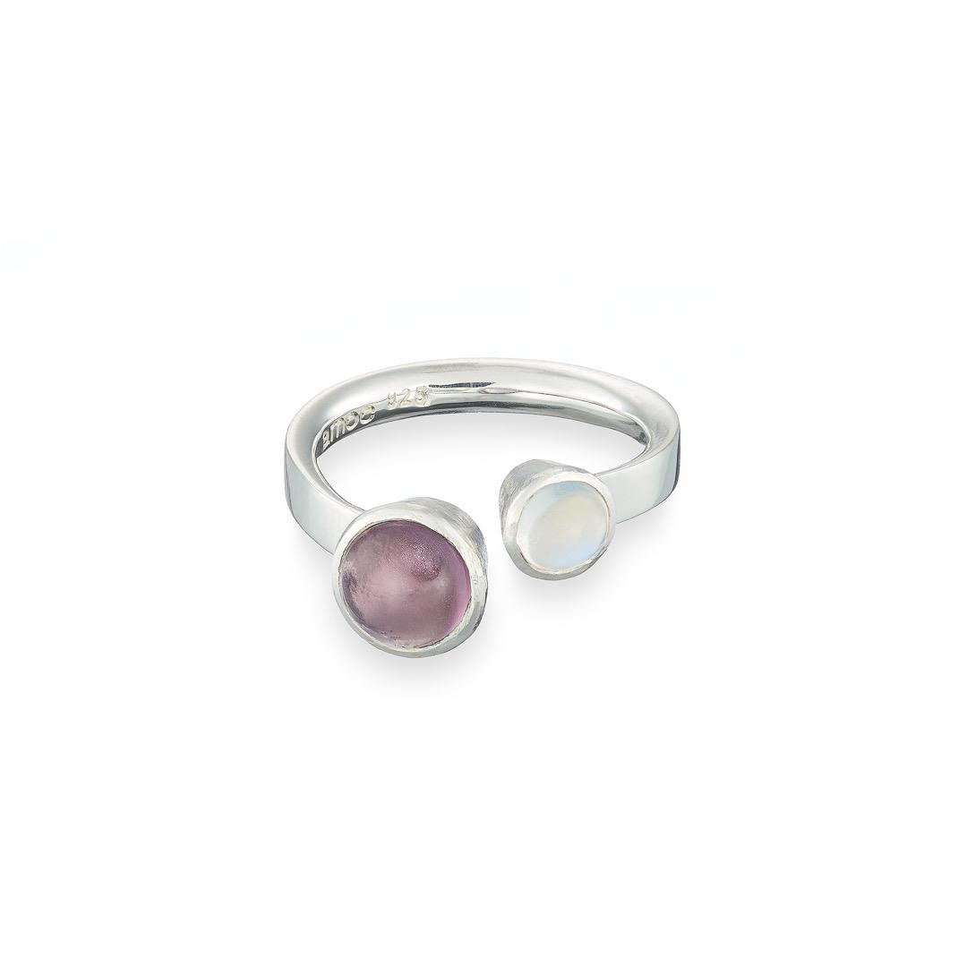 Orbital ring tourmaline and moonstone silver