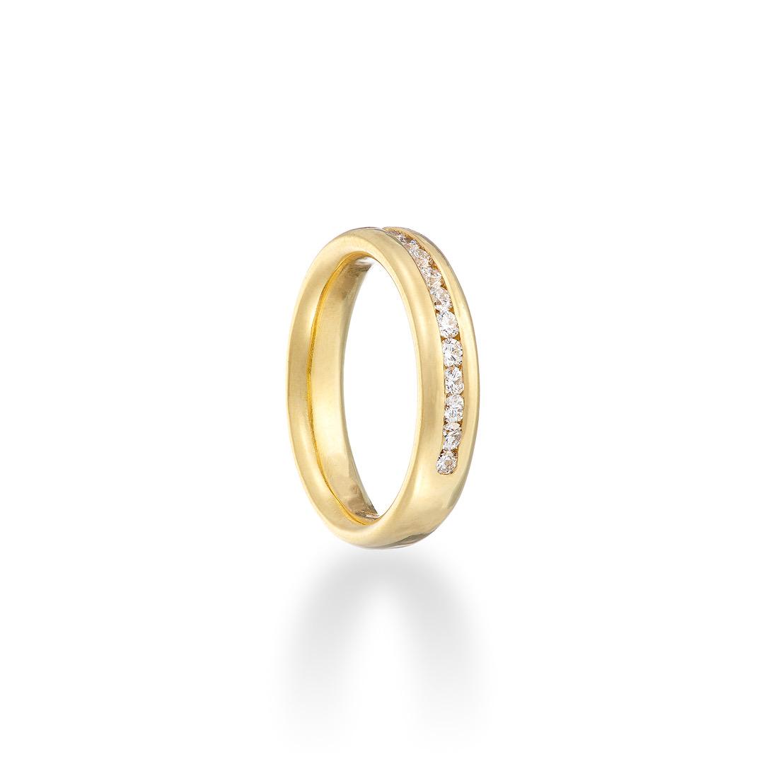 Precious half eternity ring diamond 18ct yellow gold