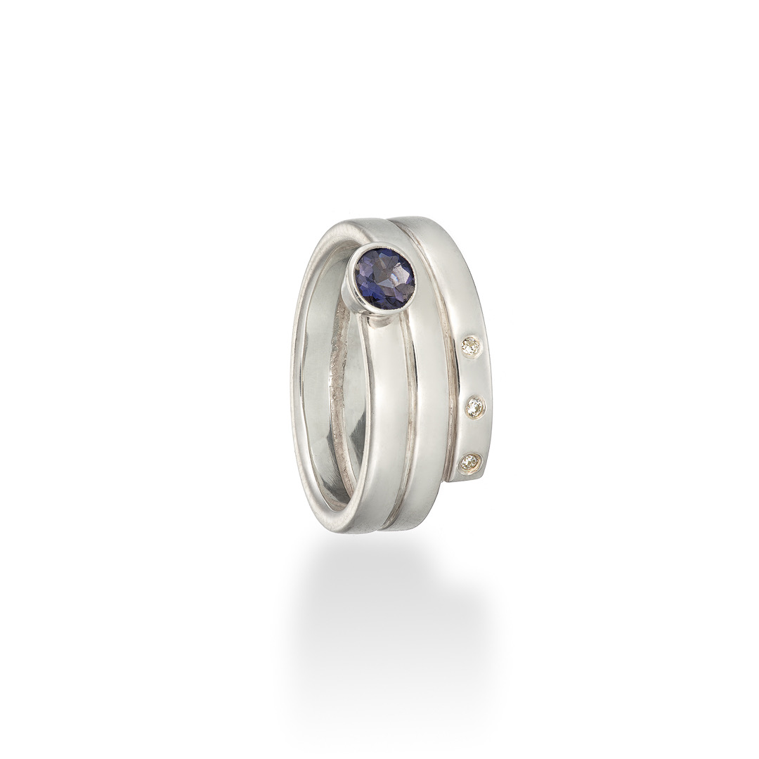 Spiral ring diamond and iolite silver