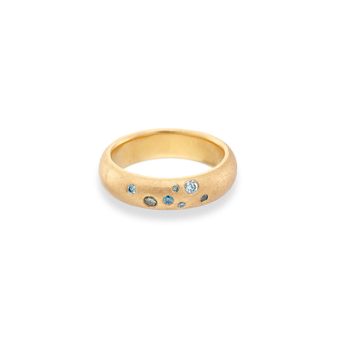 Stardust ring coloured diamonds in 18ct yellow gold