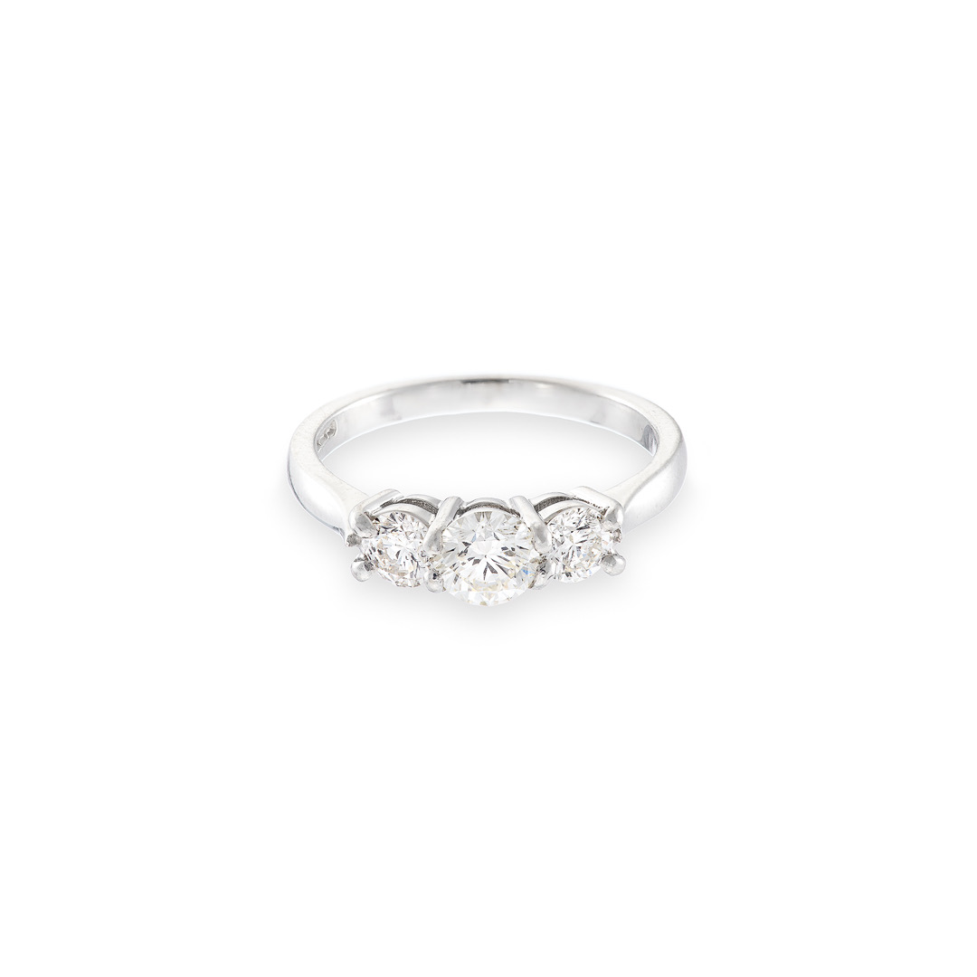 Trilogy diamond ring 18ct white gold