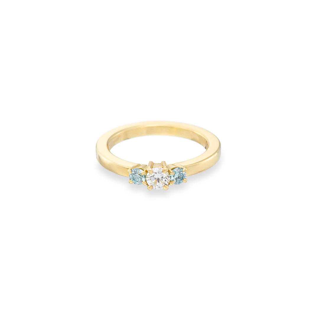 Trilogy white and blue diamond ring 18ct yellow gold