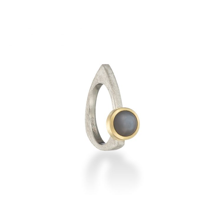 Triptec moonstone ring silver and gold