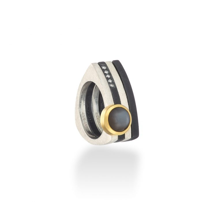 Triptec silver and gold ring set