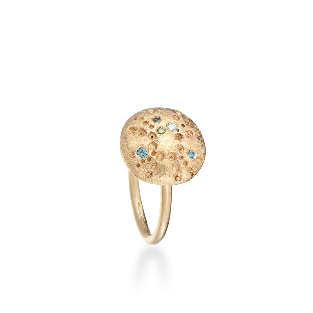 Urchin Ring, blue and green diamonds in 9ct gold
