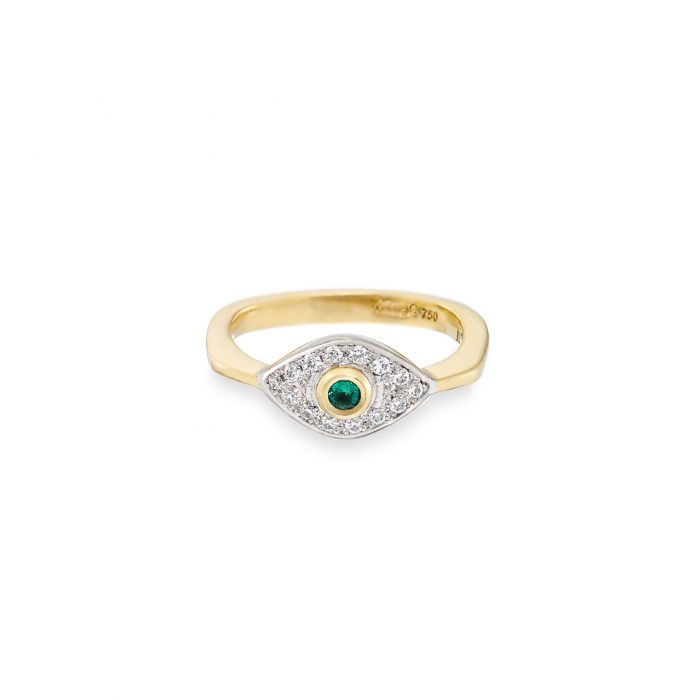 Victoriana ring, emerald and diamonds in 18ct gold