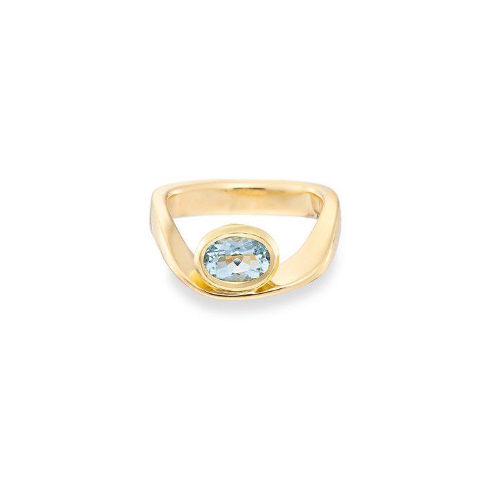 Wave ring aquamarine 18ct yellow gold