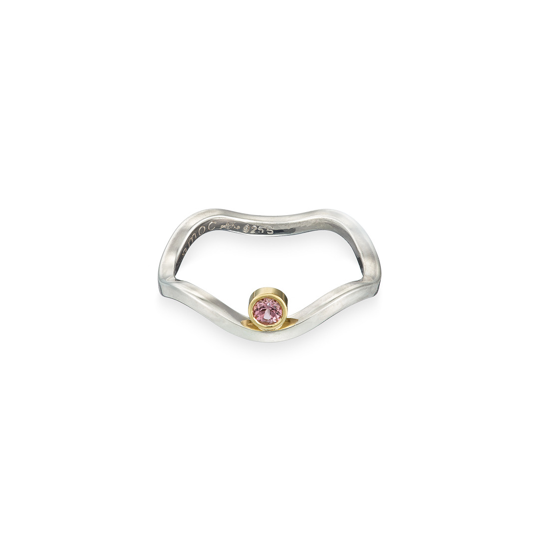 Wobbly ring pink tourmaline silver and gold