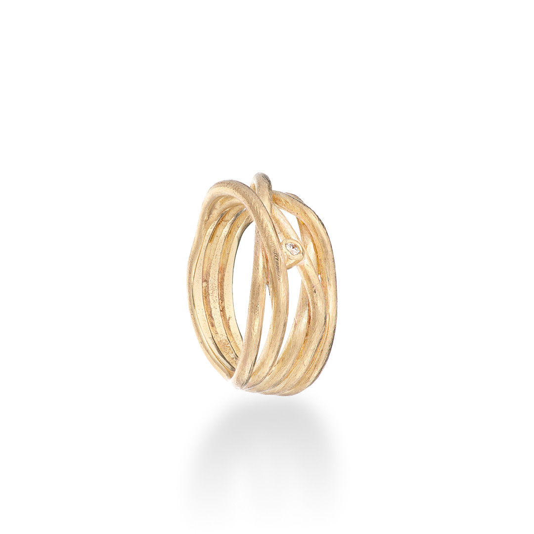 Wrap ring with diamond 9ct yellow gold