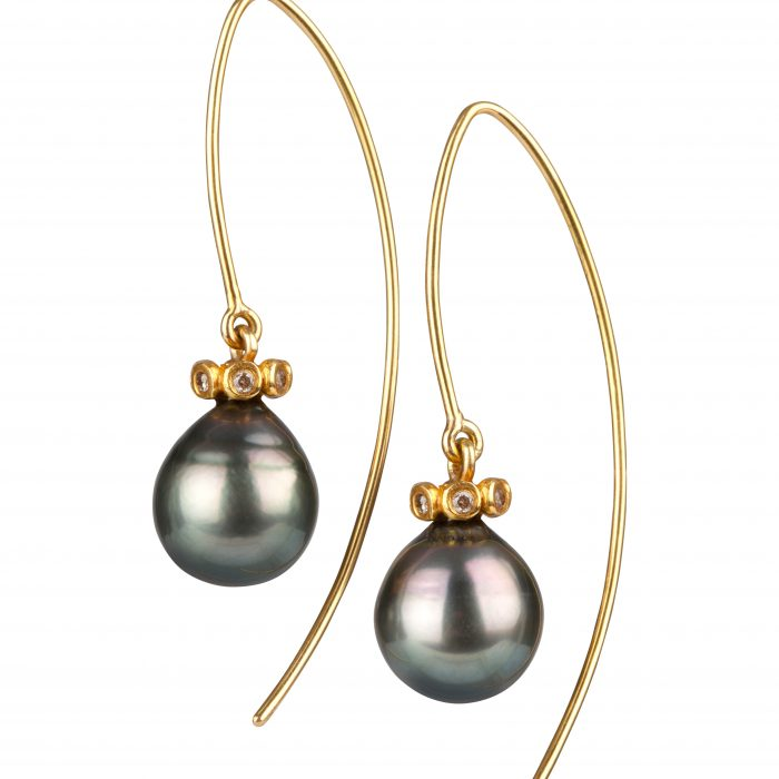 Gold Tahitian pearl earrings