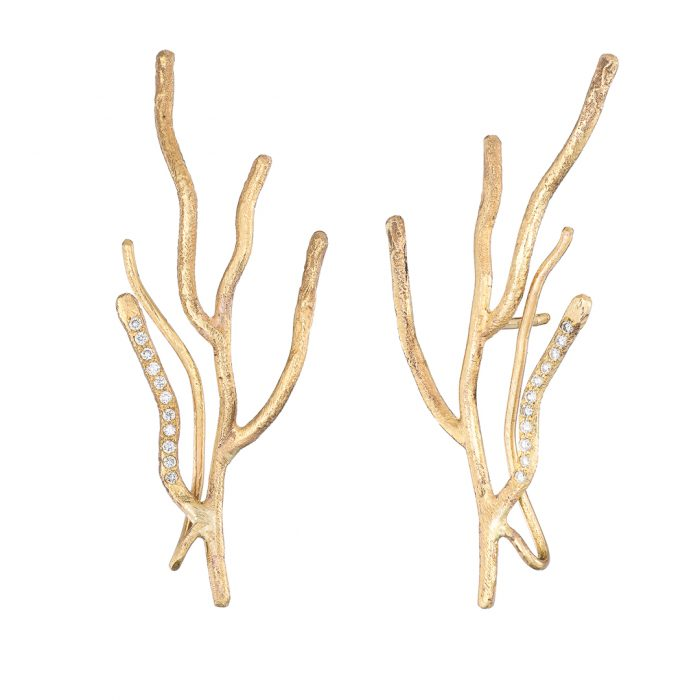Twig earrings gold and diamond