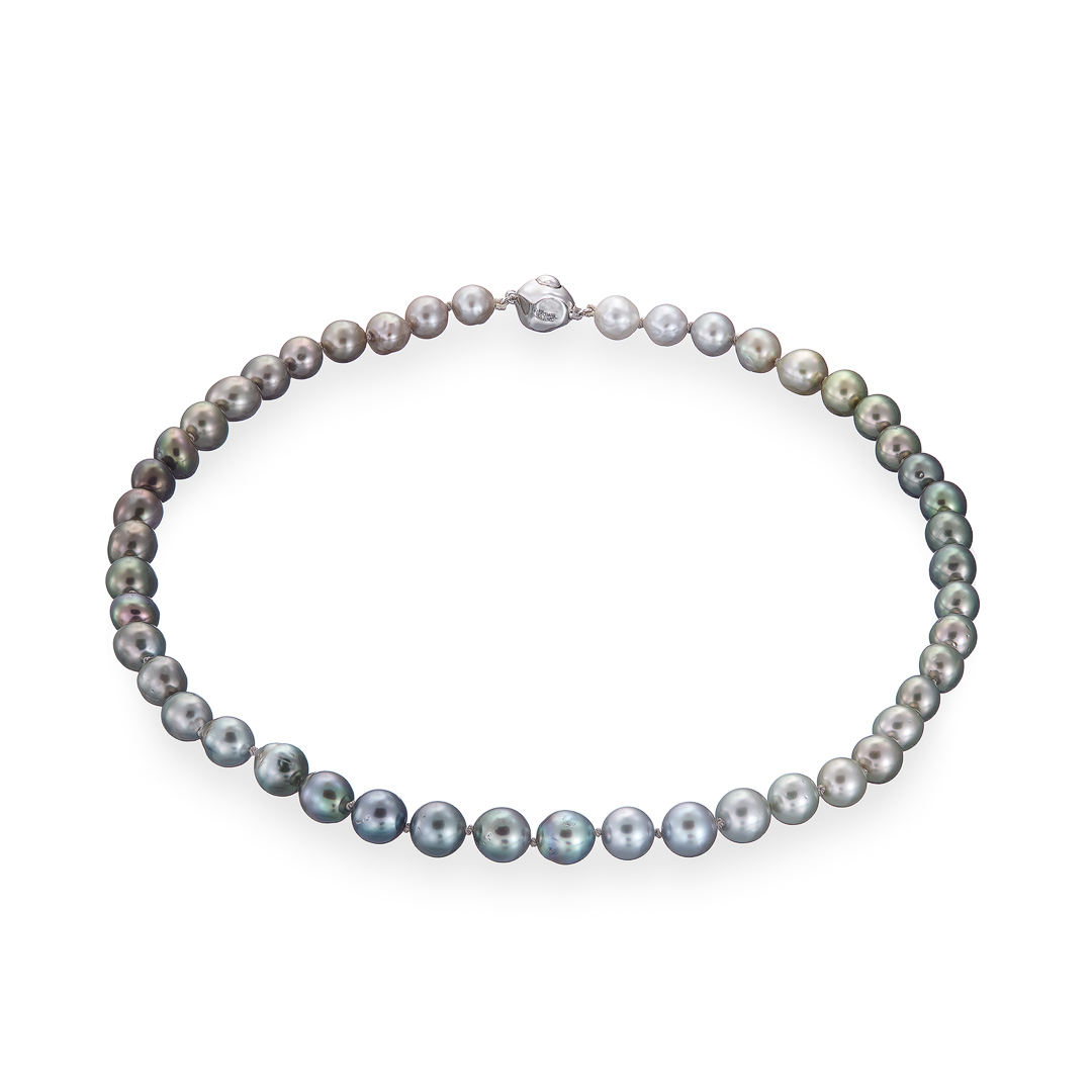 Tahitian pearl semi baroque grey necklace