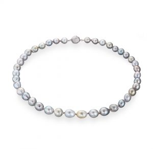 Tahitian pearl baroque silver necklace