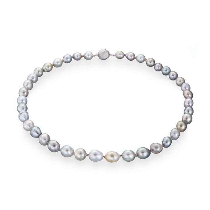 Tahitian pearl baroque silver necklace