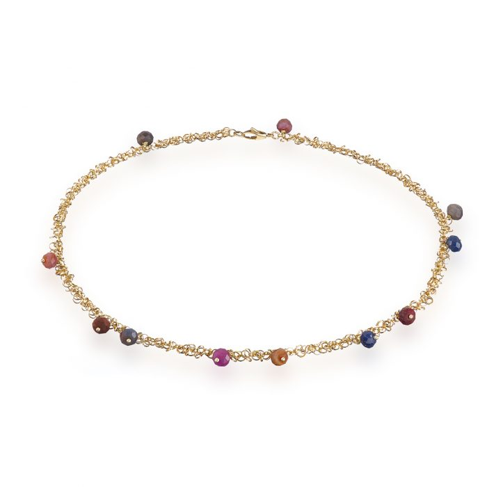 Sapphire and  gold necklace, sapphire rhondelle beads on 18ct yellow gold 3mm triple link chain