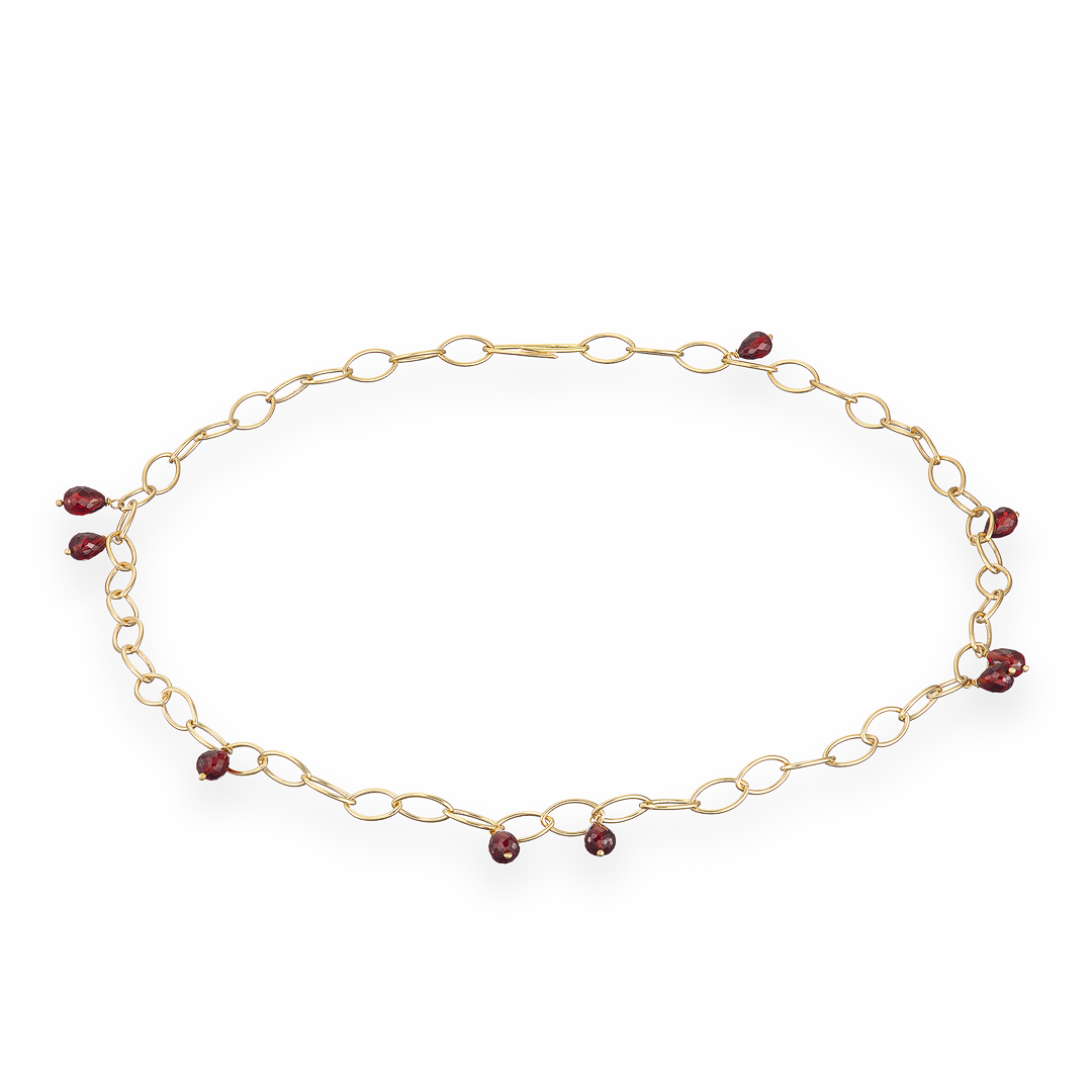 Garnet oval link gold chain