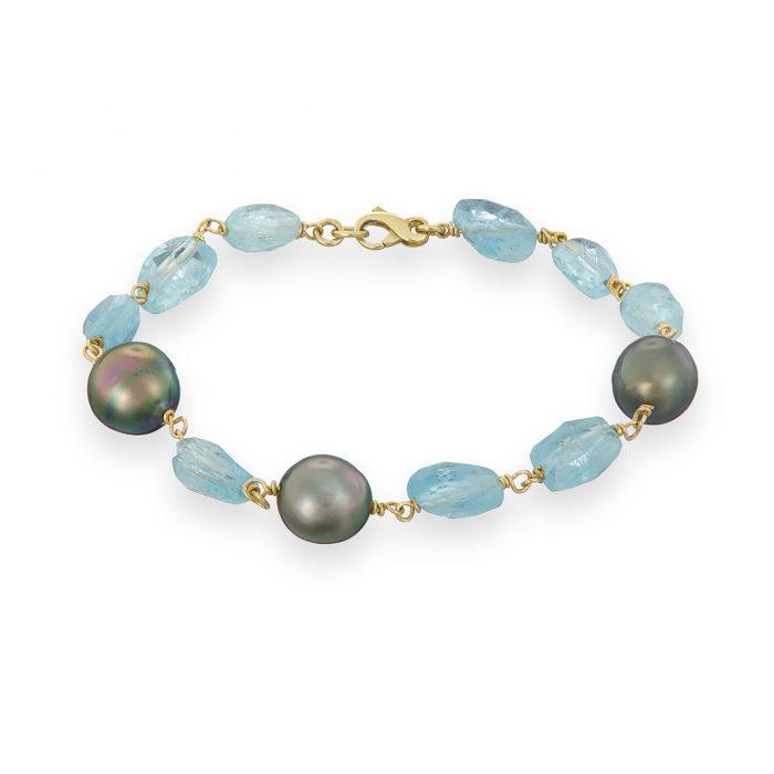 Aquamarine Tahitian Pearl Bracelet