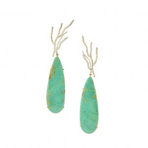 Twig earrings with diamonds and turquoise attachments