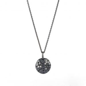 Urchin necklace silver oxidised with diamonds