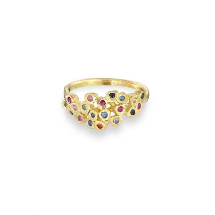 Mosaic ring sapphire and 18ct yellow gold