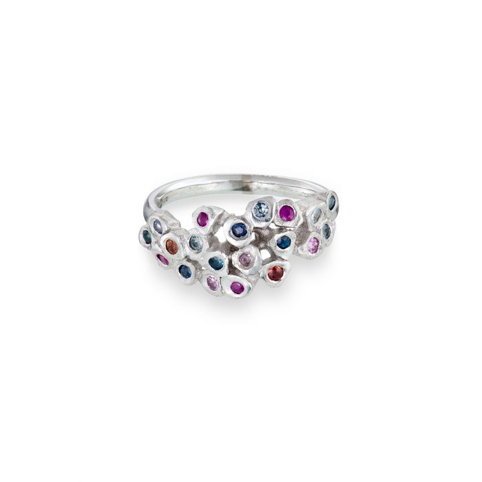 Mosaic pinkie ring, 18ct white gold with multicoloured sapphires throughout.