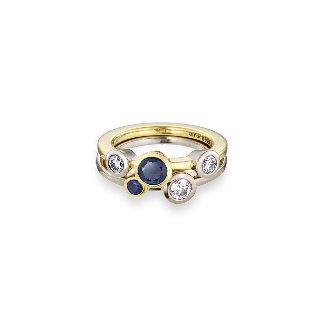 Stacked sapphire and diamonds rings