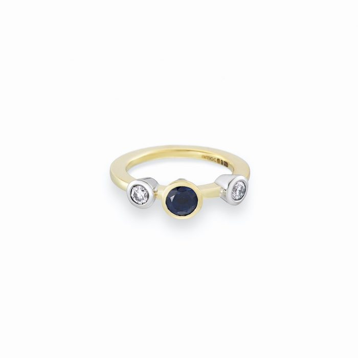 Sapphire and diamond stacking ring yg
