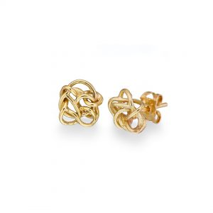 Nest stud earrings, gold