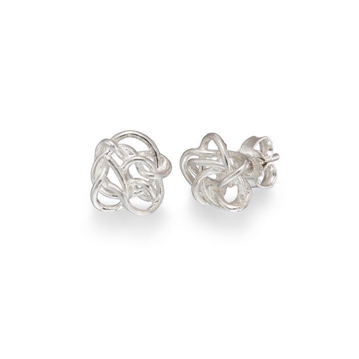 Nest stud earrings, silver
