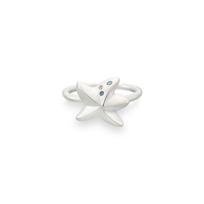Starfish ring silver with diamonds