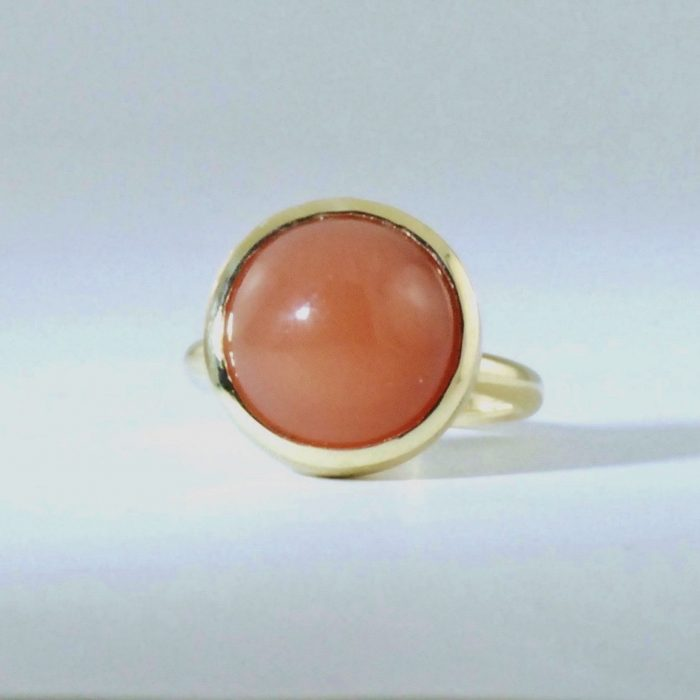 Full Moon ring, 9ct yellow with orange moonstone