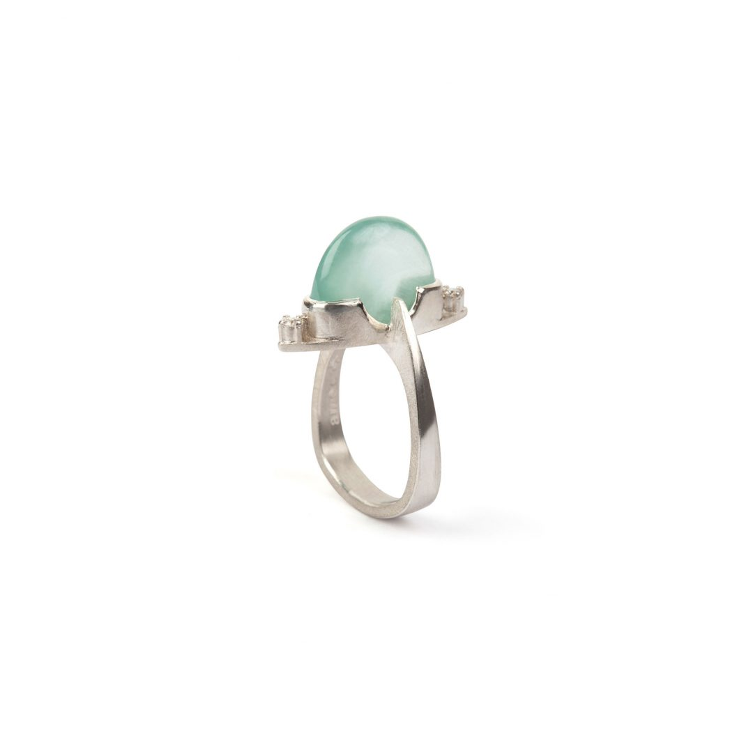 Stargazer ring, aquamarine and diamond