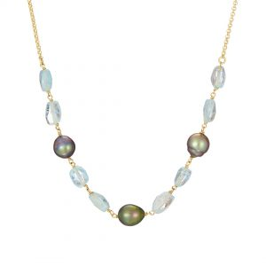 Half Moon Necklace, Tahitian pearl & aquamarine, 18ct yellow gold