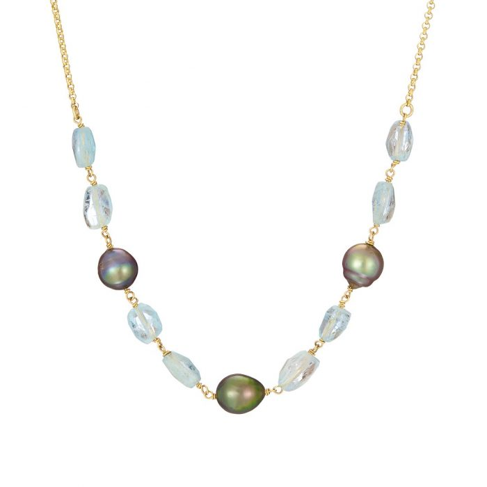 Half Moon Necklace, Tahitian pearl & aquamarine, 18ct yellow gold