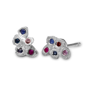 Mosaic stud earrings, silver with sapphires